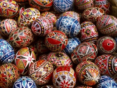 Beautifully decorated paschal eggs